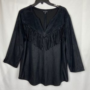 Express Long Sleeve Suede Top with Fringe
